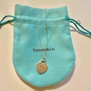 "Tiffany & Co. Small Heart Tag Charm And 18"" Chain"